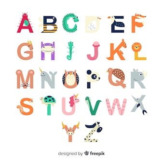 Alphabet buchstabenformen mit tieren