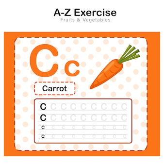 Alphabet c. übung mit karotten-cartoon-vokabular-illustration, karotte