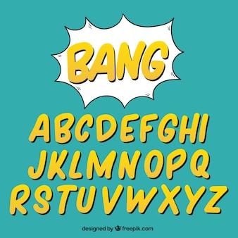 Alphabet der gelben buchstaben im comic-stil