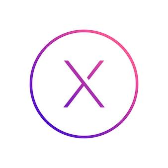 Alphabet des buchstaben x innerhalb des kreisikonendesigns