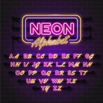 Alphabet-design im neon-stil