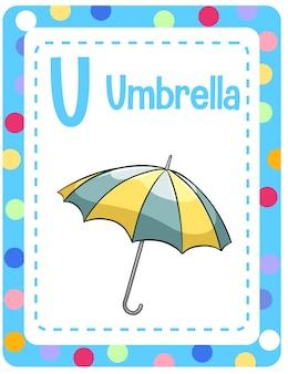 Alphabet flashcard mit buchstaben u für regenschirm