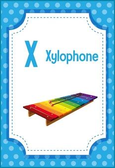 Alphabet flashcard mit buchstaben x für xylophon