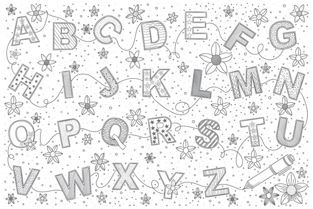 Alphabet gekritzelsatz