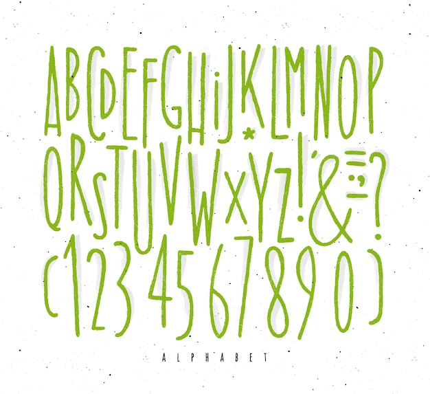 Alphabet gerade grüne linien schriftart