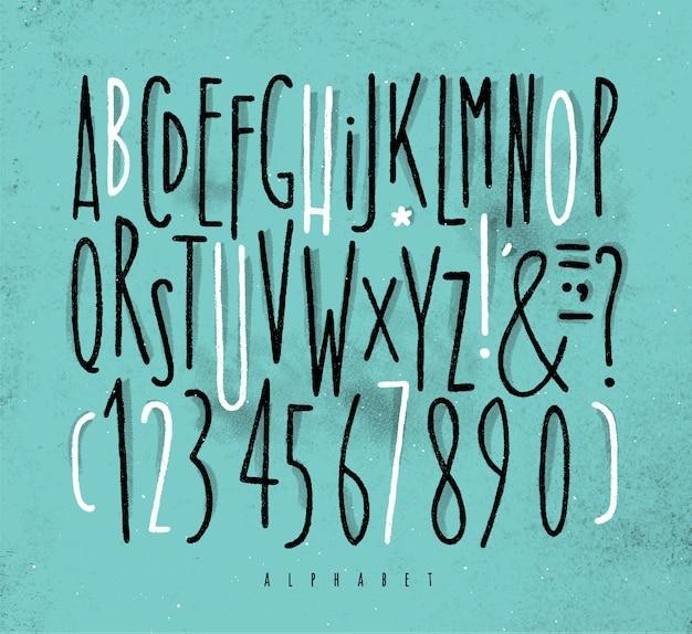 Alphabet geraden schriftart blau