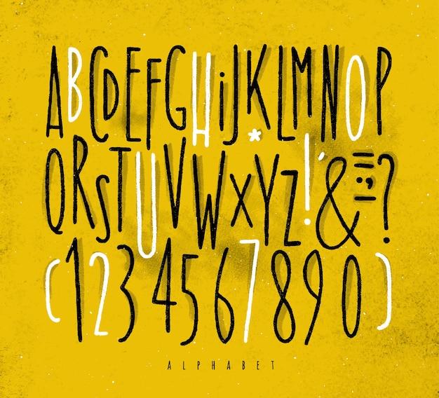 Alphabet geraden schriftart gelb