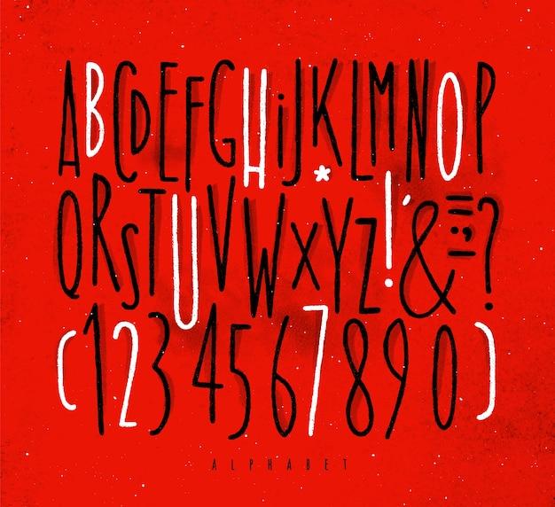 Alphabet geraden schriftart rot