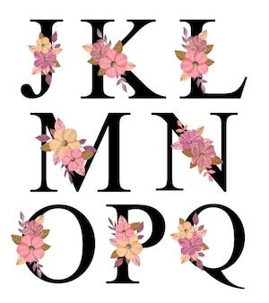 Alphabet großbuchstaben design j - q mit handgezeichnetem rosa blumenstrauß