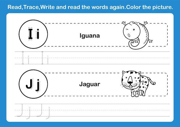 Alphabet ij übung mit cartoon-vokabular für malbuchillustration