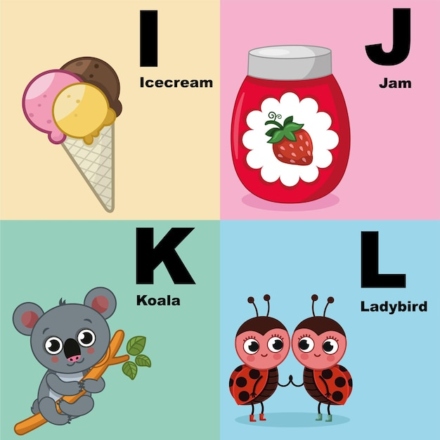Alphabet-illustrations-set für kindervektorillustration des alphabet-kits, das ijkl . enthält