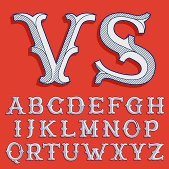 Alphabet im klassischen sportteam-stil. vintage slab serif-schrift mit linienschatten. perfekt für viktorianische identität, luxuspaket, retro-buch, westliches diplom usw.