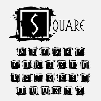 Alphabet im quadratischen rahmen bei tintentrockenen pinselstrichen mit rauen kanten vektor-serif-schriftart