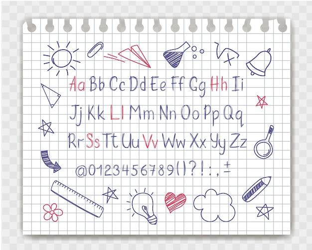 Alphabet in der flüchtigen art mit schule kritzelt auf schreibheftblatt.