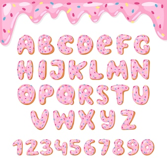 Alphabet kinder alphabetische donuts schriftart abc mit rosa buchstaben und glasierten zahlen mit zuckerguss oder süßer alphabetischer typografie für alles gute zum geburtstag illustration lokalisiert auf weißem hintergrund
