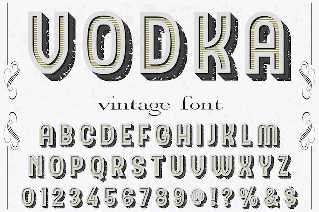 Alphabet label design wodka