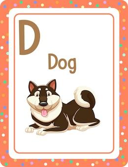 Alphabet-lernkarte mit buchstaben d für hund