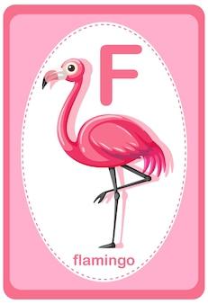 Alphabet-lernkarte mit buchstaben für flamingo