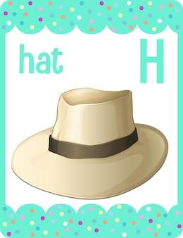 Alphabet-lernkarte mit buchstaben h für hut