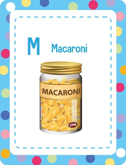 Alphabet-lernkarte mit buchstaben m für makkaroni