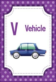 Alphabet-lernkarte mit buchstaben v für fahrzeug