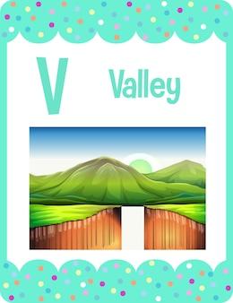 Alphabet-lernkarte mit buchstaben v für valley