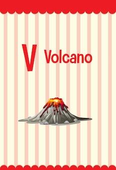 Alphabet-lernkarte mit buchstaben v für vulkan