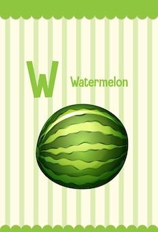 Alphabet-lernkarte mit buchstaben w für wassermelone