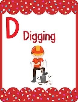 Alphabet-lernkarte mit dem buchstaben d zum graben