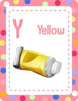 Alphabet-lernkarte mit dem buchstaben y für gelb