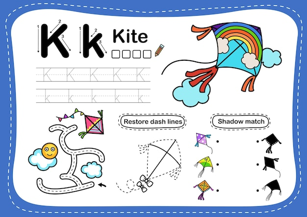 Alphabet letter k-kite-übung mit cartoon-vokabular