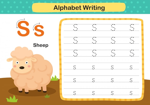 Alphabet letter s-sheep übung mit cartoon vokabular illustration