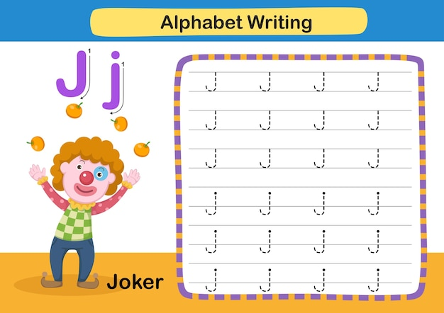 Alphabet letter übung j joker mit cartoon vokabular illustration
