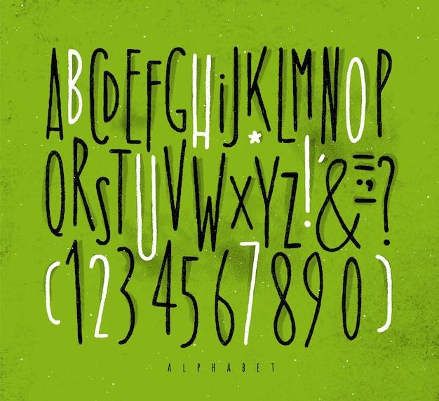 Alphabet-linien schriftart grün