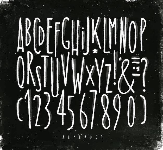 Alphabet-linien schriftart kreide