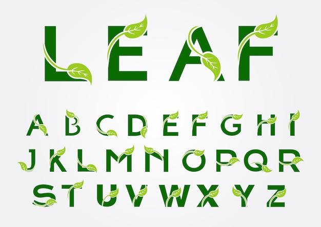 Alphabet-logo mit blattelement