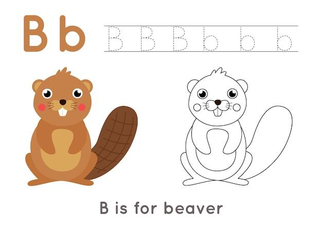 Alphabet malvorlagen für kinder. grundlegende schreibaktivität. arbeitsblatt zur verfolgung von abc-buchstaben. buchstabe b mit niedlichem cartoonbiber.