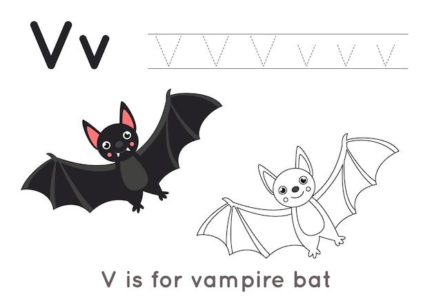 Alphabet malvorlagen für kinder. grundlegende schreibaktivität. arbeitsblatt zur verfolgung von abc-buchstaben. buchstabe v mit niedlicher schwarzer vampirfledermaus.