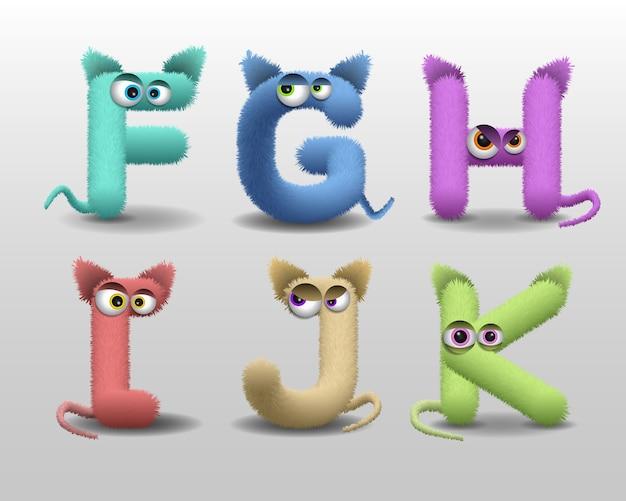 Alphabet mit niedlichem fellmonstercharakter