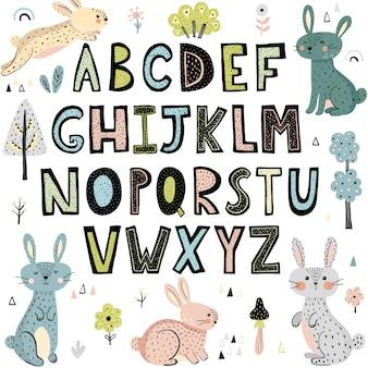Alphabet mit niedlichen kaninchen
