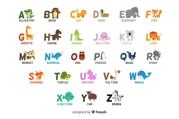 Alphabet mit niedlichen tieren als buchstaben