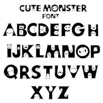 Alphabet mit niedlichen und lustigen monstern