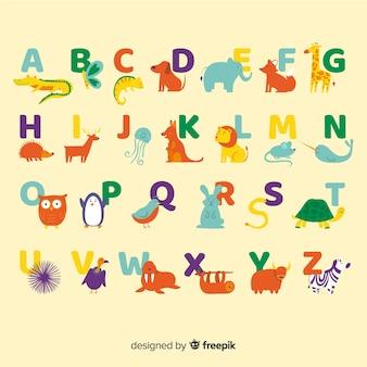Alphabet mit niedlichen wilden tieren