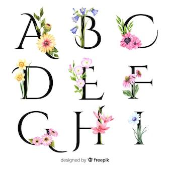 Alphabet mit realistischen blumen