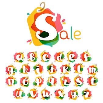 Alphabet mit sale-tag-symbol. aquarell-overlay-stil. schrift mit negativem leerzeichen. perfekte schrift für einzelhandelsidentität, schaufensterdruck, ladenposter usw.