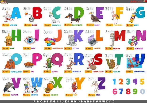 Alphabet mit zeichentrickfiguren und objekten bildungssatz