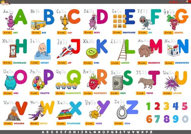 Alphabet mit zeichentrickfiguren und objekten festgelegt