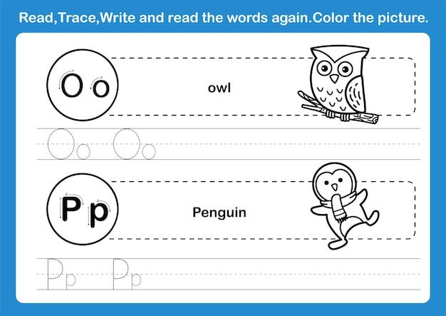Alphabet op übung mit cartoon vokabular für malbuch