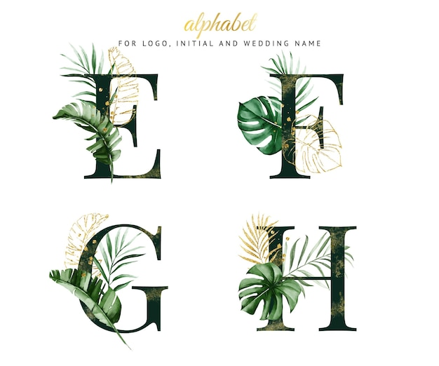 Alphabet-satz von e, f, g, h mit grünem tropischem aquarell. für logo, karten, branding usw.