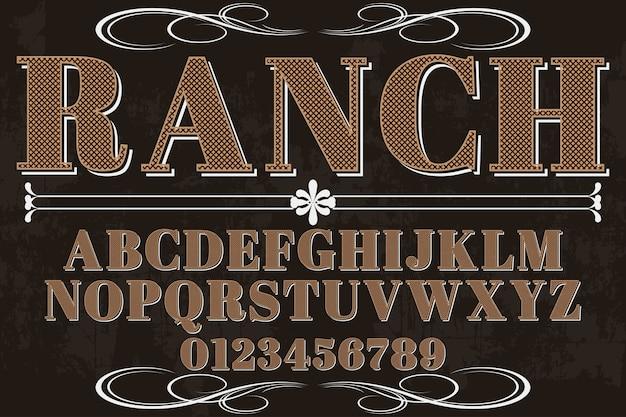 Alphabet schatteneffekt-schriftart-ranch
